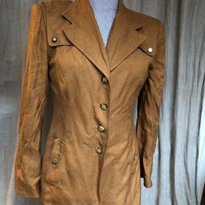wathne $800 brown 100% silk jacket 8